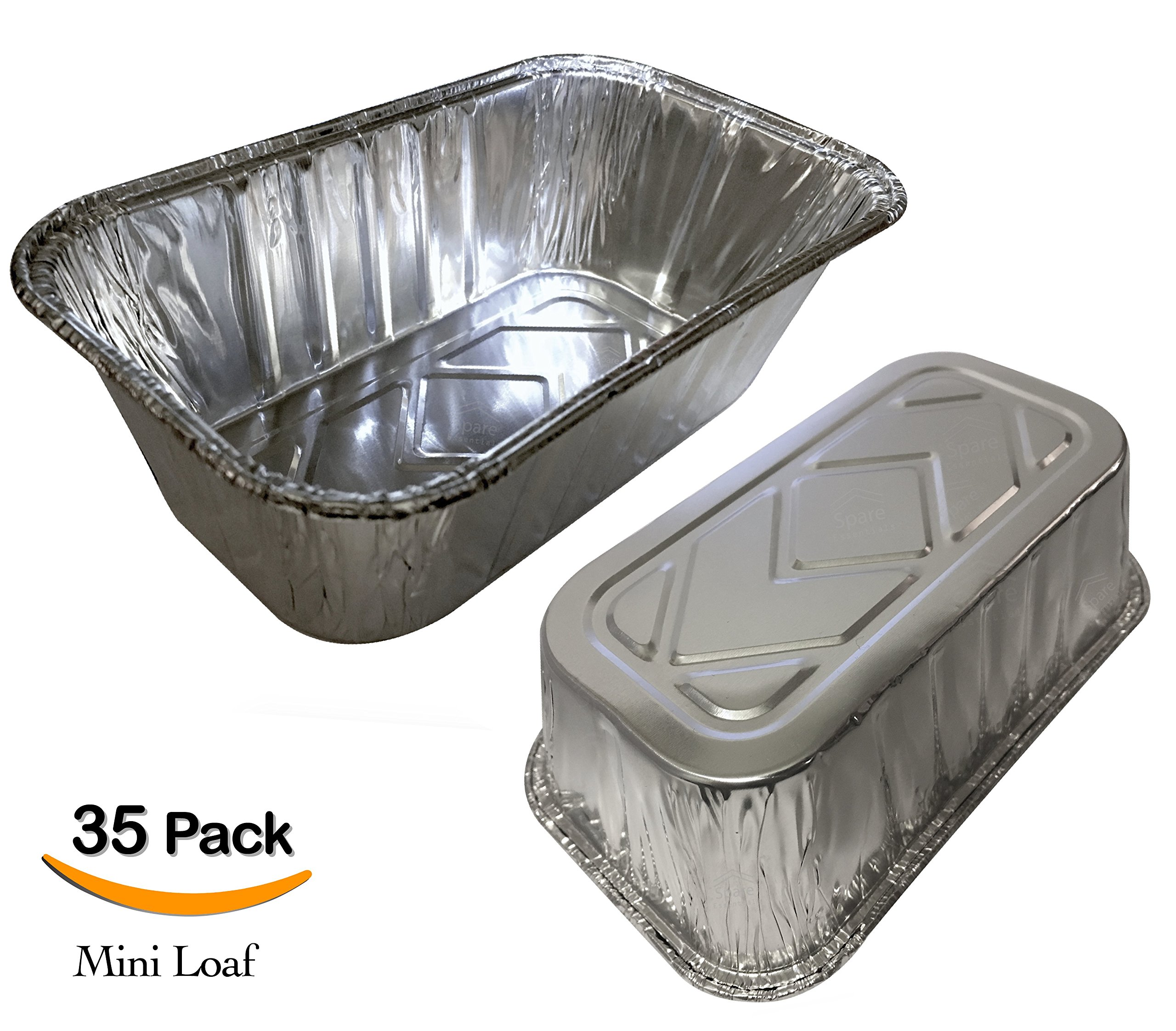 "35 Pack – 1LB Sturdy Mini Loaf Pans, Aluminum Pans, Bread Pans, Foil Loaf l Cake Pan, Disposable Aluminum Pans l Top bakery's choice Tin Pans - 1 Pound - 6'' X 3.5"" x 2"""