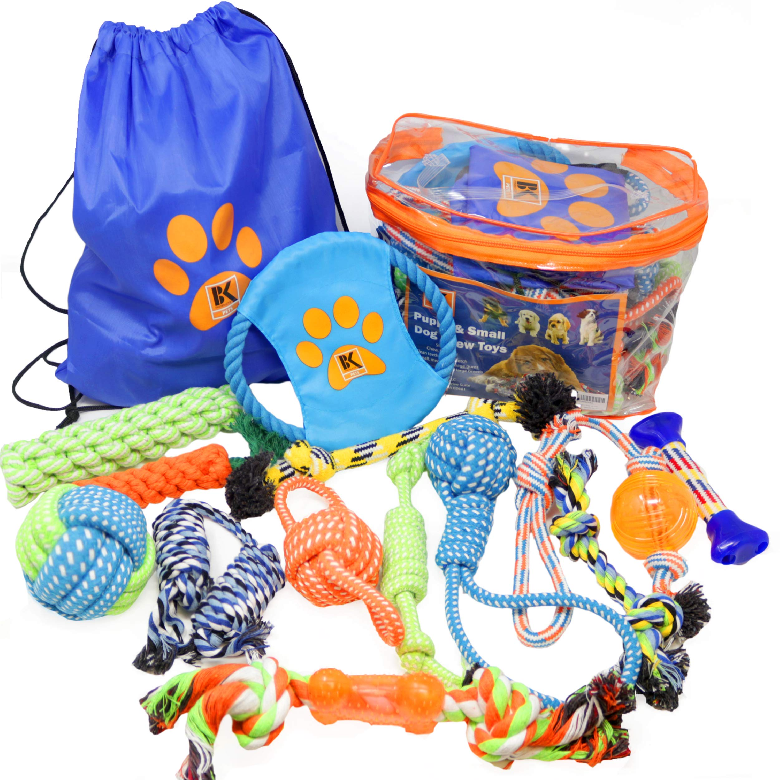 BK PRODUCTS LLC Dog Toys - 13 Puppy Dog Rope Toys - Chew Toy for Puppy Small and Medium Dogs - Puppy Chew Toys - Dog Toy Pack - Set of 13 Chew Toys and Teething Toys with Bonus Storage Bag