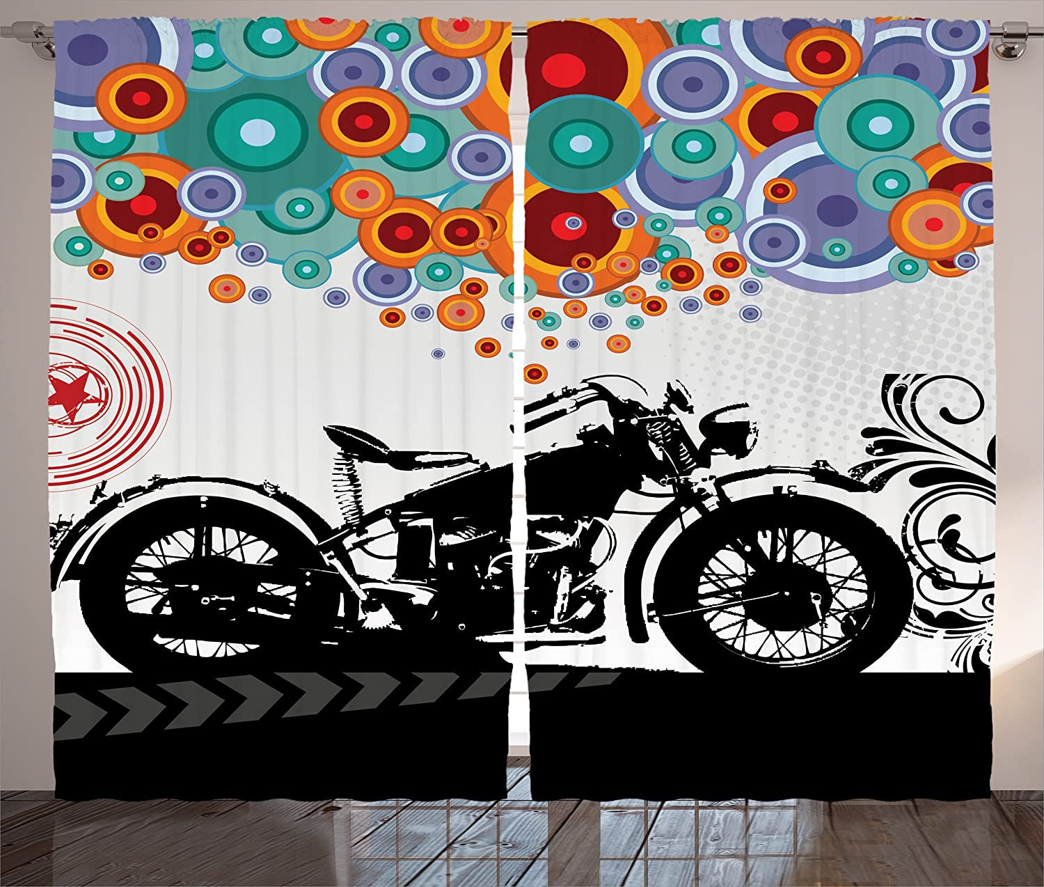 Ambesonne Manly Decor Curtains, Motorcycle and Abstract Circle Shapes Ornament Urban Modern Life Clubs Party, Window Drapes 2 Panel Set for Living Room Bedroom, 108 W X 84 L inches
