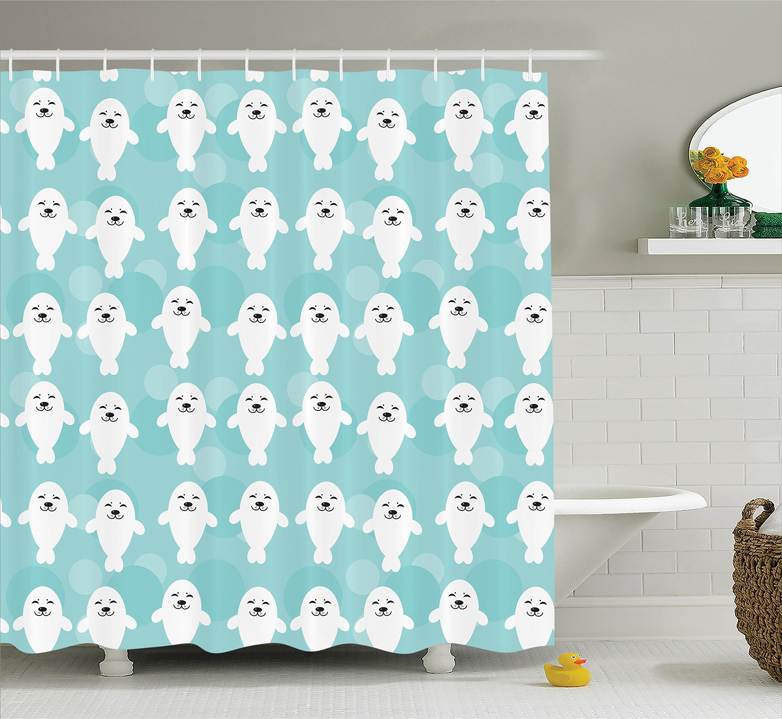 Ambesonne Sea Animals Decor Shower Curtain Set, White Baby Seals with Cute Faces Children Baby Smiling Cheerful Kids, Bathroom Accessories, 69W X 70L inches
