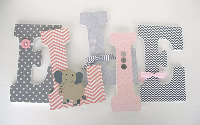pink and gray elephant custom wooden letters baby girl nursery decor large 9 inch