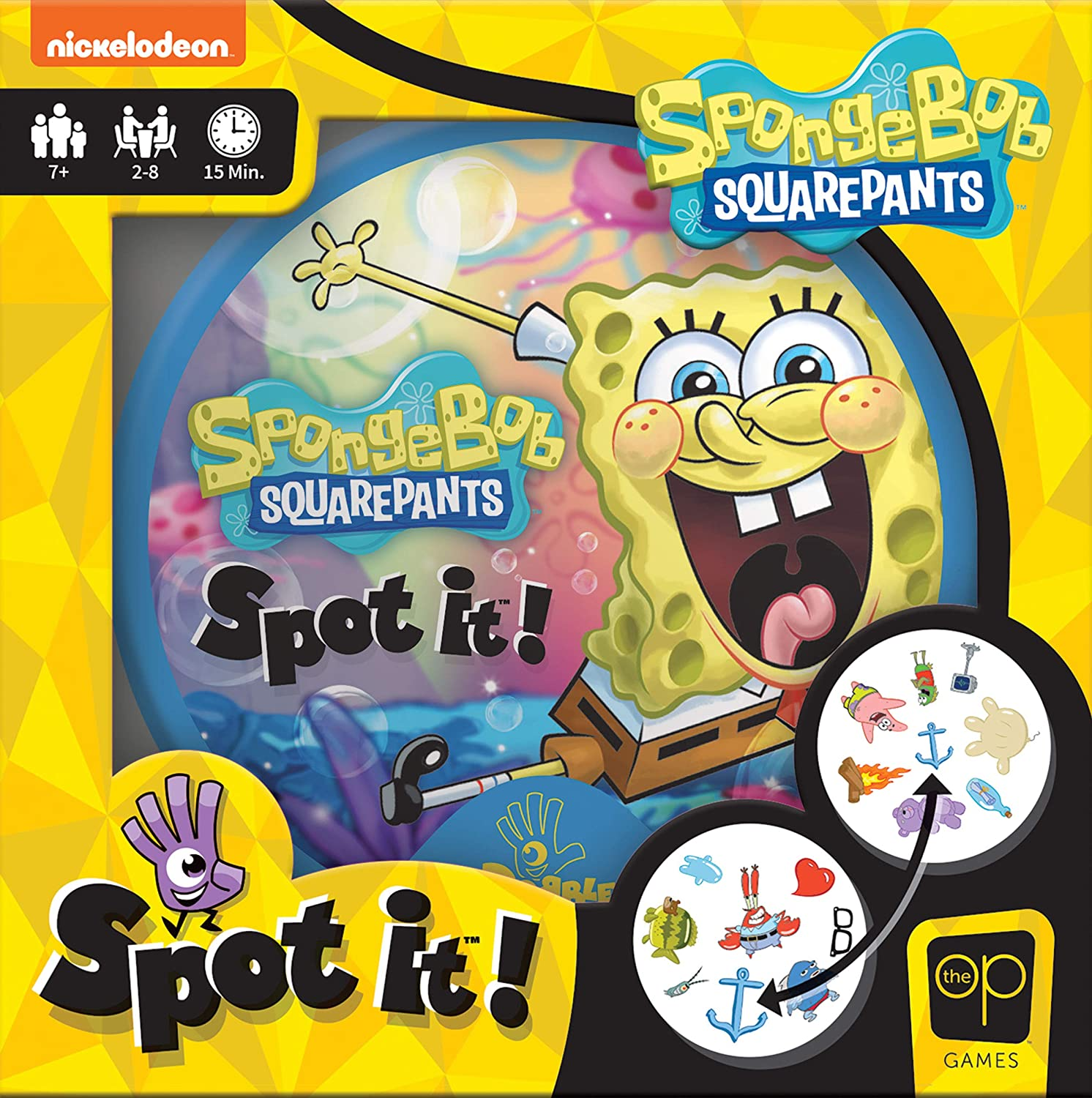 USAOPOLY Spot It! SpongeBob SquarePants | Fun Card Game for Kids and Adults | Featuring SpongeBob, Patrick, Squidward, The Krabby Patty, Gary and More | Licensed Nickelodeon SpongeBob SquarePants Game