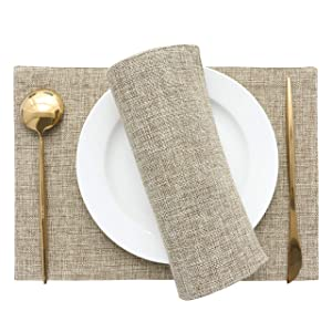HOME BRILLIANT Set of 4 Placemats Heat Resistant Dining Table Place Mats Kitchen Table Mats, Natral Linen