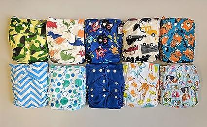 10 unidades bolsillo pañales de tela con inserciones de 20 (2 insertos por pañal)
