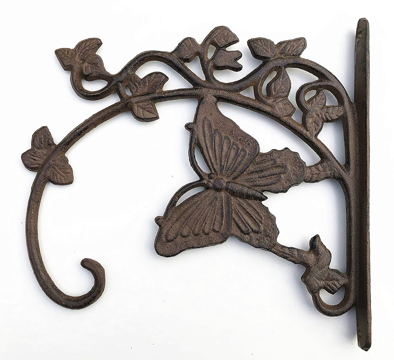 Cast Iron Ornate Butterfly Hanging Flower Basket Bracket Hook in 3 colours (Brown) Spring life