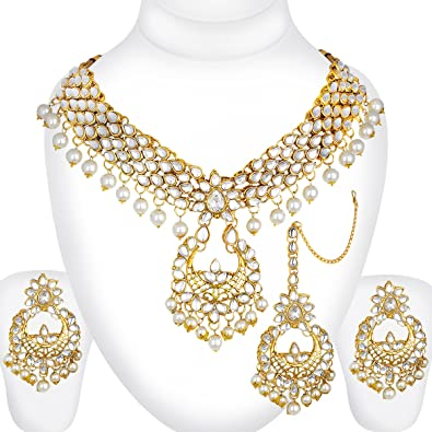 Traditional Pearl Beaded Kundan Necklace Set Indian Bollywood Women Bridal Jewelry trM96xUL