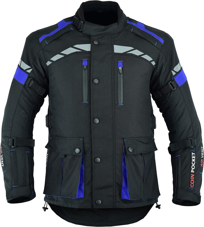 S MOTORCYCLE BIKERS MEN ARMORED HIGH PROTECTION CORDURA WATERPROOF JACKET BLACK//BLUE ARMOR CJ-9492