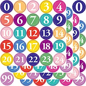 Youngever 1800 Pcs 0-99 Numbers Stickers for Office, Classroom, Organizing, Each Measures 1 inch Diameter (Multi Color Style)