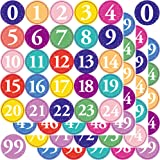 Youngever 1800 Pcs 0-99 Numbers Stickers for Office, Classroom, Organizing, Each Measures 1 inch Diameter (Multi Color…