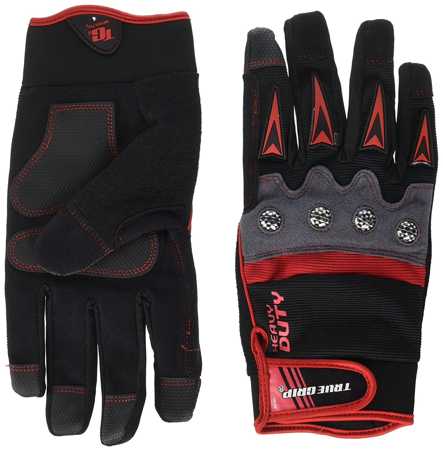 True Grip 9894-23 X-Large Heavy Duty Work Gloves with Touchscreen Fingers, Black/Red