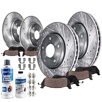 Detroit Axle - Front Rear Drilled and Slotted Rotors + Ceramic Pads w/Hardware & Brake Kit Cleaner & Fluid for 2006-2013 Mazda 3 2.0L: Automotive