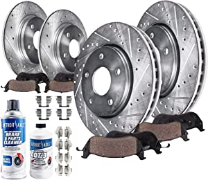 Detroit Axle - Front and Rear Drilled and Slotted Disc Brake Kit Rotors w/Ceramic Pads w/Hardware & Brake Kit Cleaner & Fluid for 2007 2008 2009 2010 2011 2012 2013 2014 2015 2016 2017 Jeep Wrangler