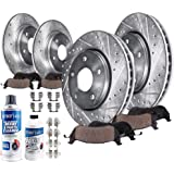 "Detroit Axle - 5-LUG 11.65"" FRONT & 10.63"" REAR DRILLED & SLOTTED Brake Kit Rotors & Pads w/Hardware, Brake Kit Fluid…"