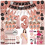 13th Birthday Decorations for Girls - (76pack) Rose Gold Party Banner, Pennant, Hanging Swirl, Birthday Balloons, Foil Backdr
