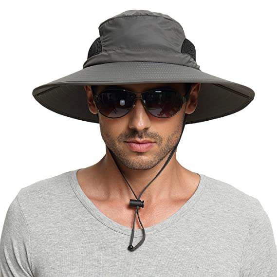 d8de4ca2 Amazon.com : EINSKEY Men's Waterproof Sun Hat, Outdoor Sun Protection Bucket  Safari Cap For Safari Fishing Hunting Dark Gray One Size : Clothing