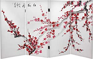 Oriental Furniture 3 ft. Tall Double Sided Plum Blossom Canvas Room Divider