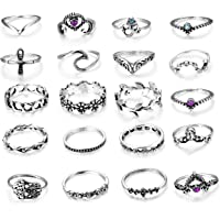 Milacolato 20 Pcs Vintage Knuckle Ring Set for Women Girls Stackable Rings Set Hollow Carved Flowers