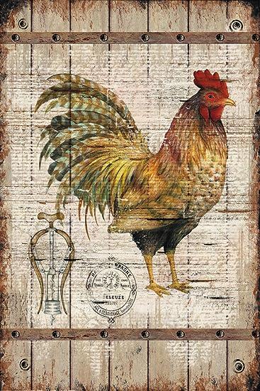 Primitive Country Farm Decor Chicken Wood Sign Rustic Plaque Home Wall Decor