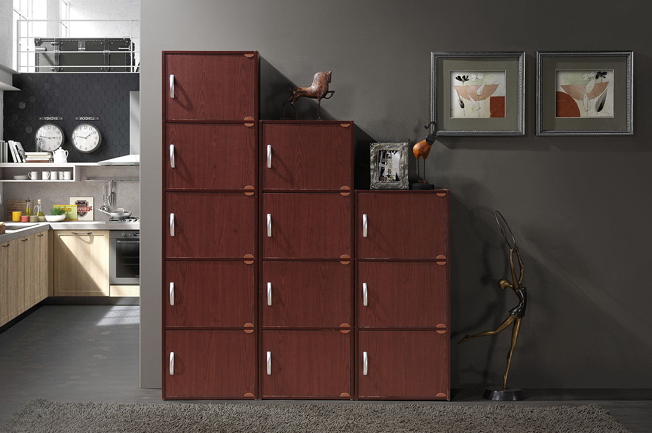 Hodedah 5 Door, Five Shleves, Enclosed Storage Cabinet, Mahogany by HODEDAH IMPORT (Image #5)