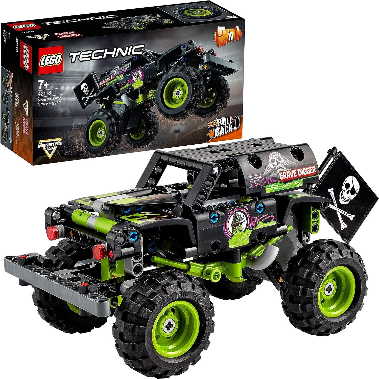 LEGO 42118 Technic Monster Jam Grave Digger, Modelo 2 en 1, Camión de Juguete o Off-road Buggy, Set de Construcción