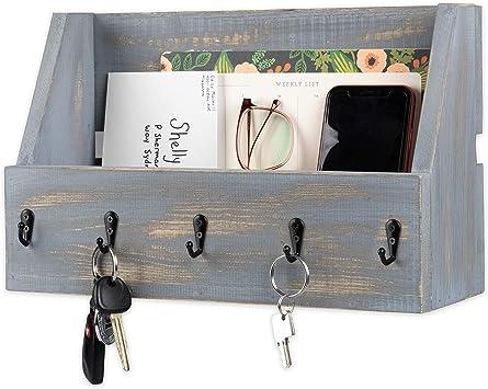 Magazine Rack Wooden Mail Organizer White Key /& Letter Holders Removable Slots