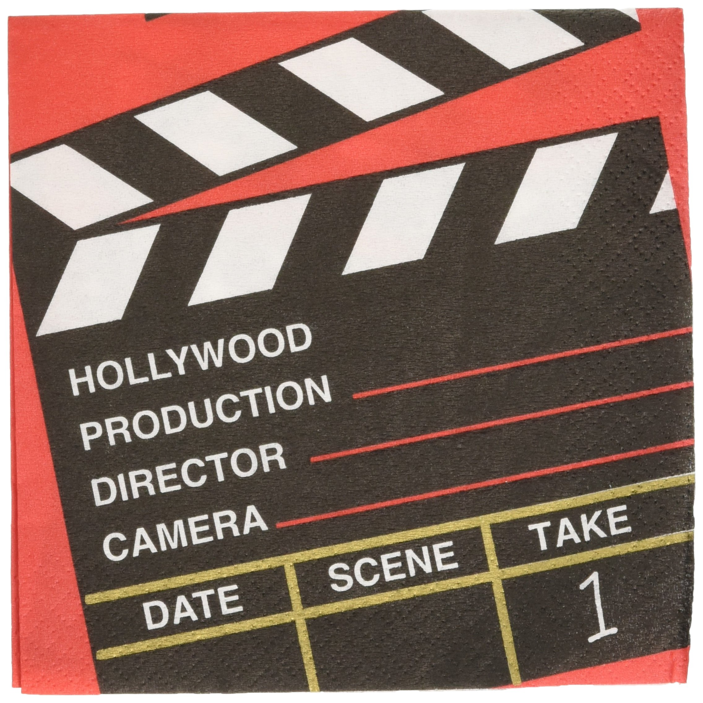 Amscan Movie Night Hollywood Themed Director's Cut Clapper Beverage Napkins Paper 5'' x 5'' Pack 36 Childrens Party (432 Piece)