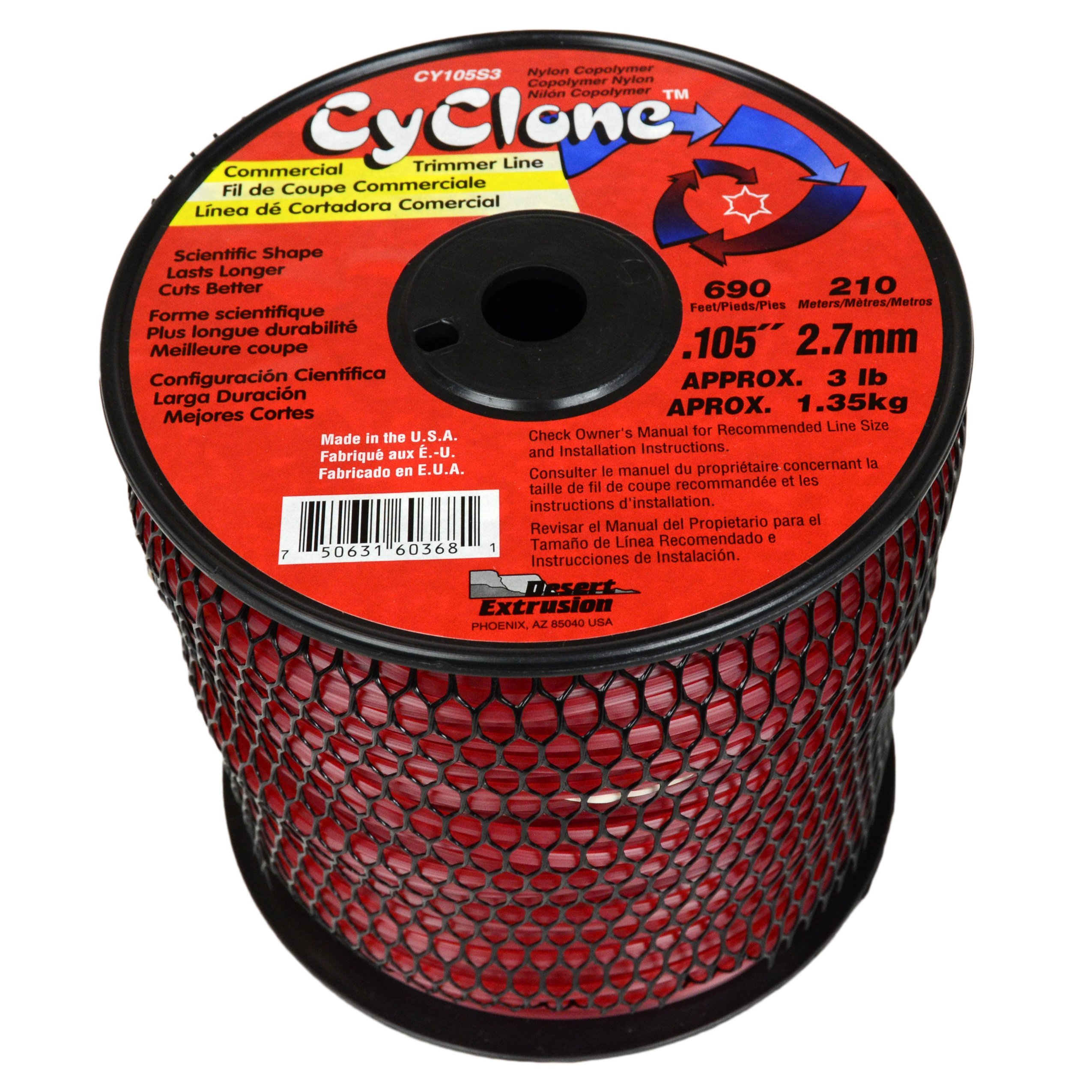 Cyclone .105-Inch 3-Pound Spool Commercial Grade 6-Blade Grass Trimmer Line, Red CY105S3-2 by Cyclone