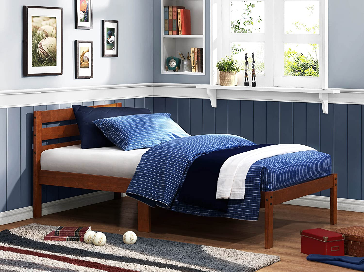 Pictures of platform beds - Amazon Com The Bart Twin Size Platform Bed In Cherry Finish By Homelegance Kitchen Dining