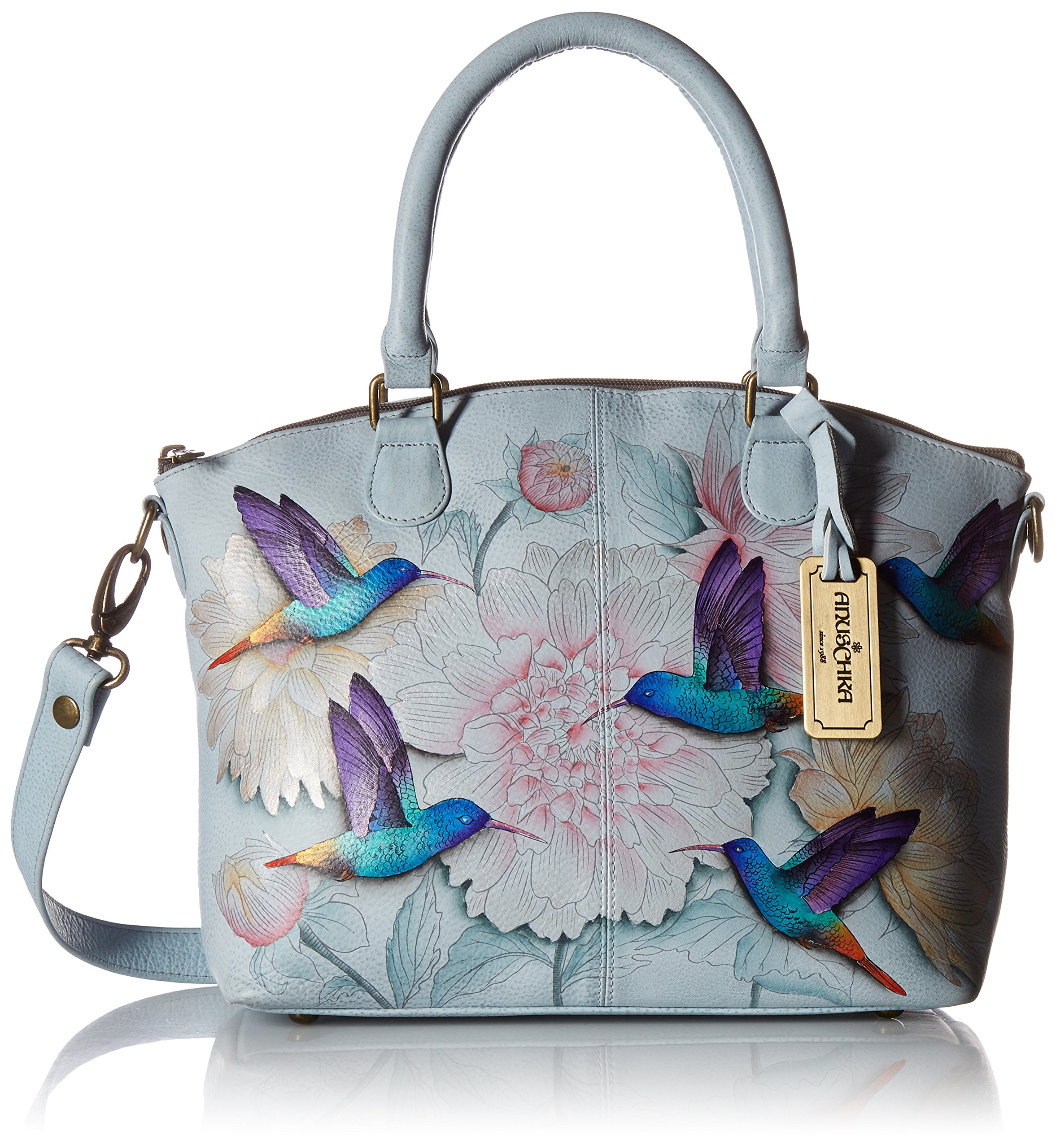 Anuschka Women's Medium Satchel Leather Hand Painted Shoulder Bag, Rainbow Birds