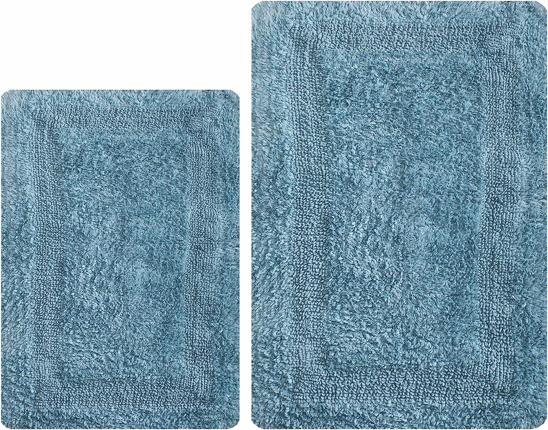 Thick Bathroom Rugs Set 2Piece in 100% Cotton 21x34/17x24 Spa Blue, Reversible Bath Rugs Set, Cotton Bath Mat,Cotton Bath Rugs, Soft Absorbent Machine Washable Rug,Livingroom Bath Rugs