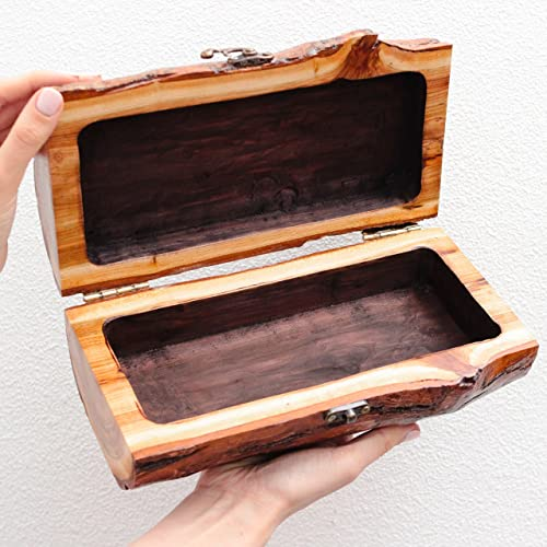 Amazoncom Rustic Wood Jewelry Box with Lock by WoodenStuff Length