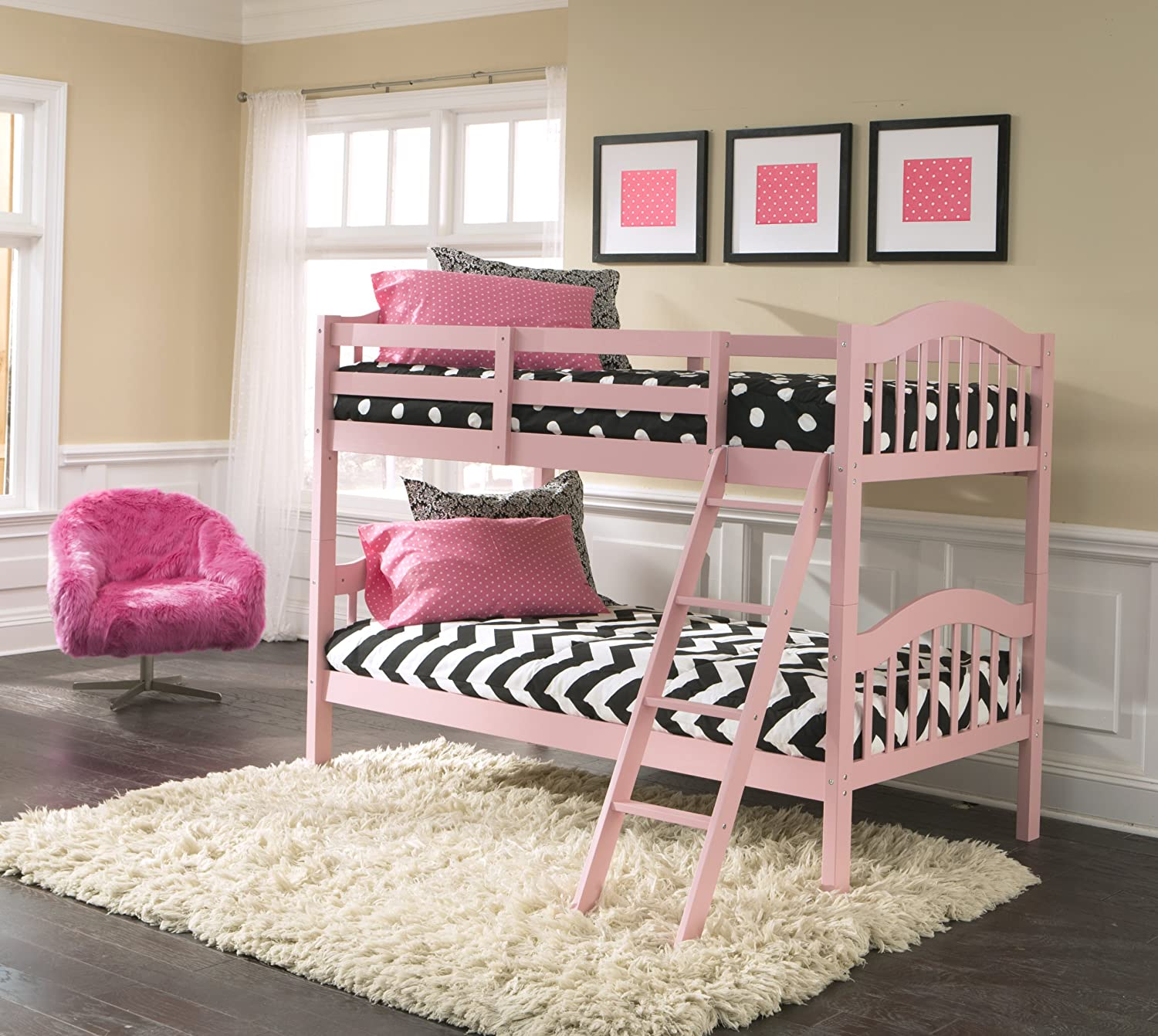 Amazon.com: Storkcraft Long Horn Solid Hardwood Twin Bunk Bed, Pink: Baby