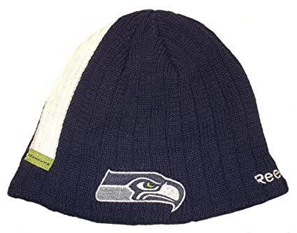 2055cd6b8c5 Image Unavailable. Image not available for. Color  NFL Seattle Seahawks Pin  Striped Ribbed Cuffed Beanie ...