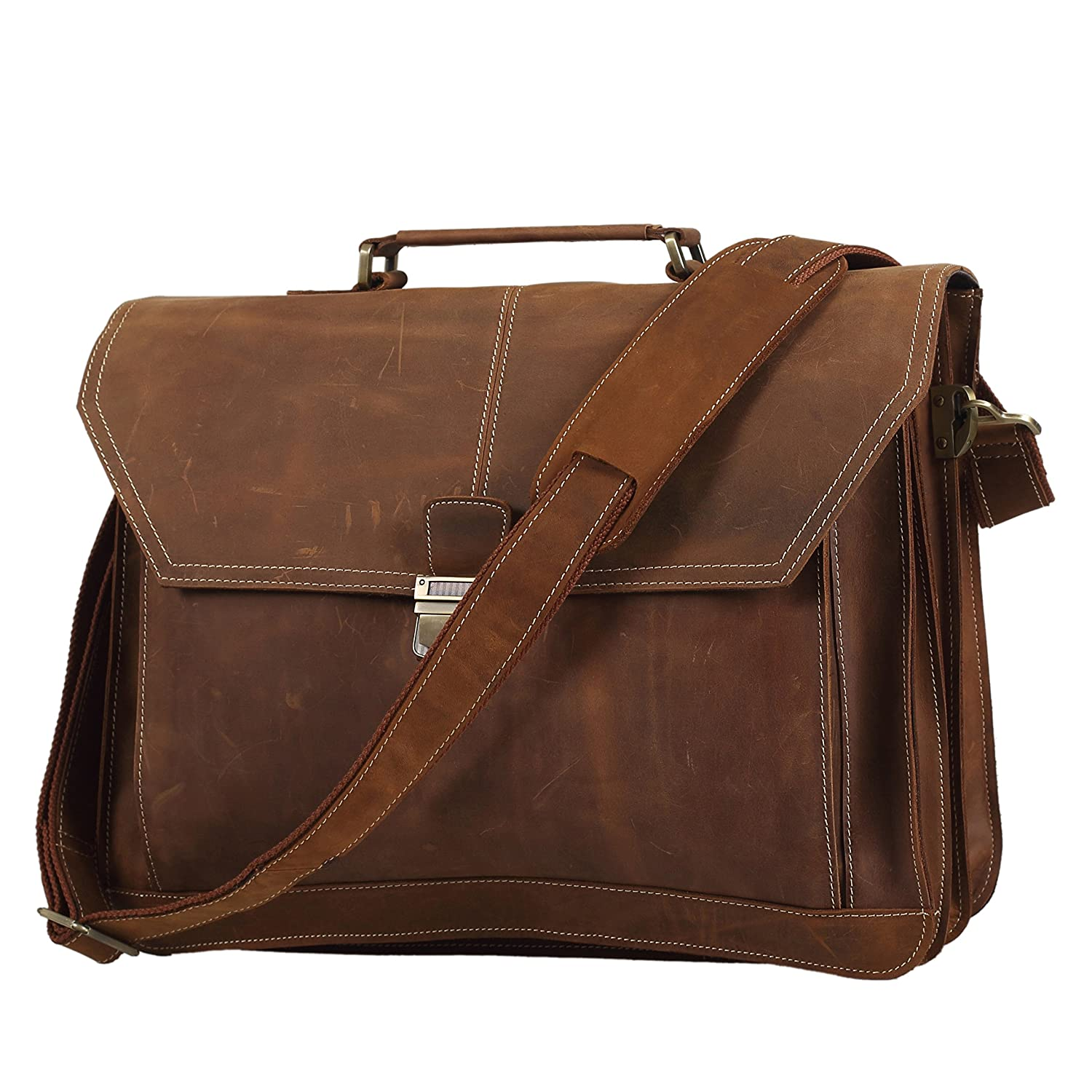 Texbo Mens Crazy Horse Leather Briefcase Messenger Bag Fit 16.5 Inch Laptop Tote