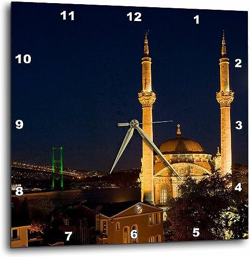 3dRose Mecidiye Mosque, Bosphorus Bridge, Ortakoy, Istanbul-AS37 Aka1090 – Ali Kabas – Wall Clock, 15 by 15-Inch DPP_73684_3