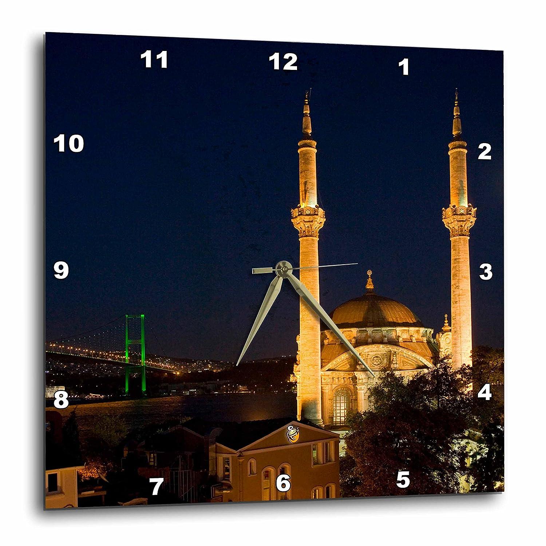 DPP/_73684/_1 Istanbul-AS37 Aka1090 3dRose Mecidiye Mosque 10 by 10-Inch Bosphorus Bridge Wall Clock Ali Kabas Ortakoy