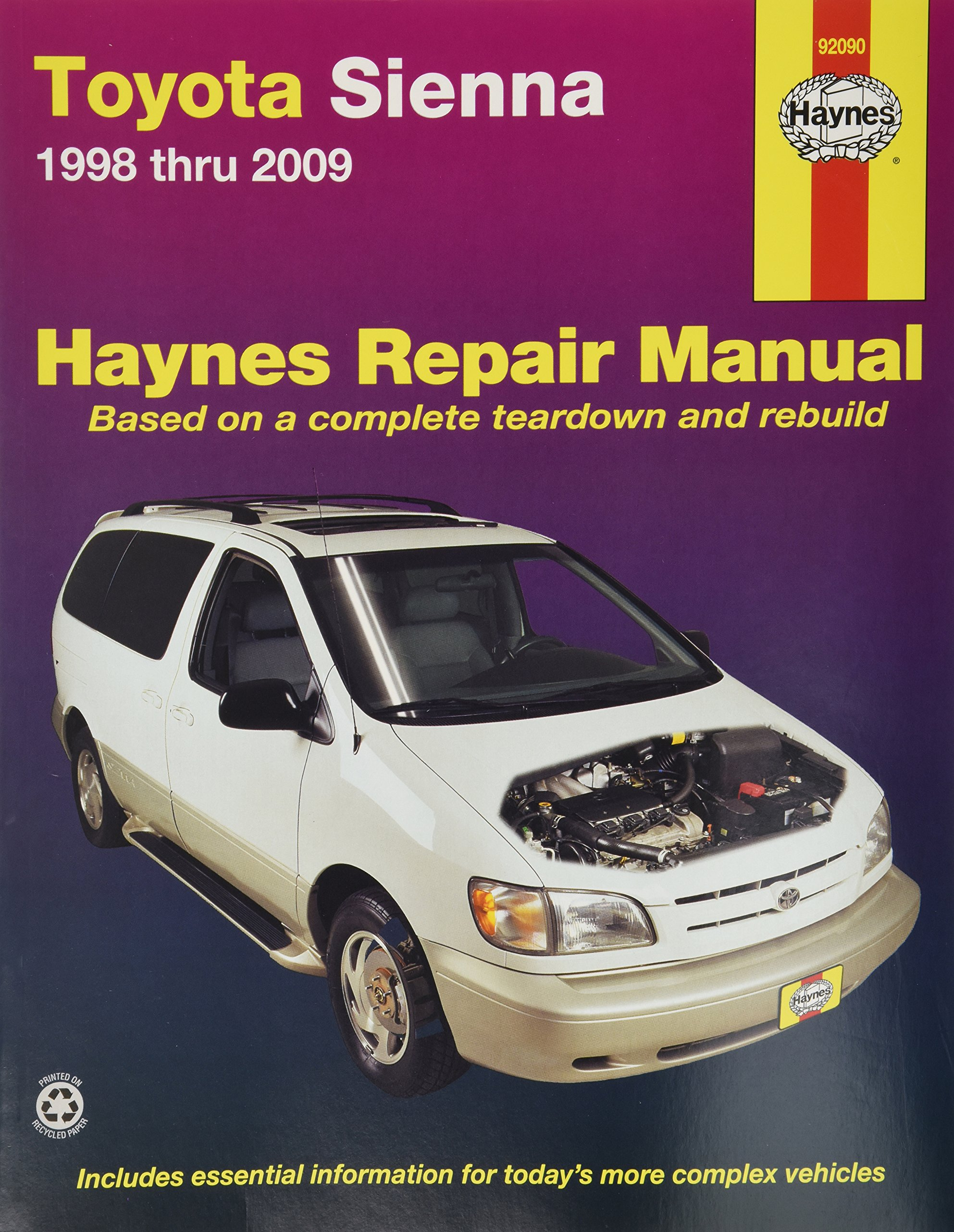 Amazon com haynes repair manual for toyota sienna 1998 thru 2009 number 92090 0038345920905 books