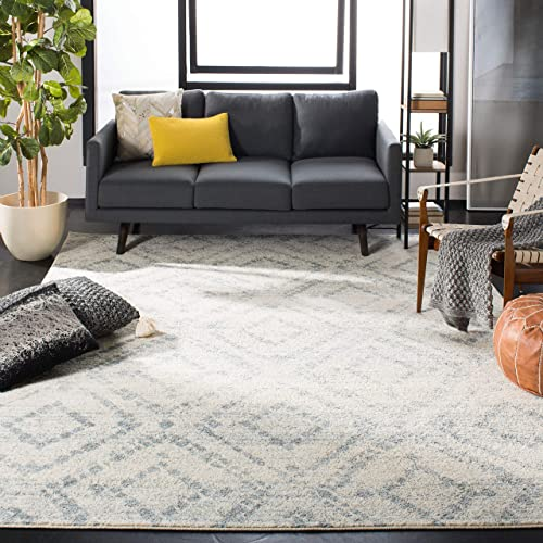Safavieh Adirondack Collection ADR131T Ivory and Light Blue Vintage Geometric Area Rug 6 x 9