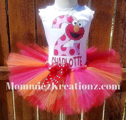 Amazon Com Sesame Street Elmo Tutu Set Elmo Birthday Outfit Sesame