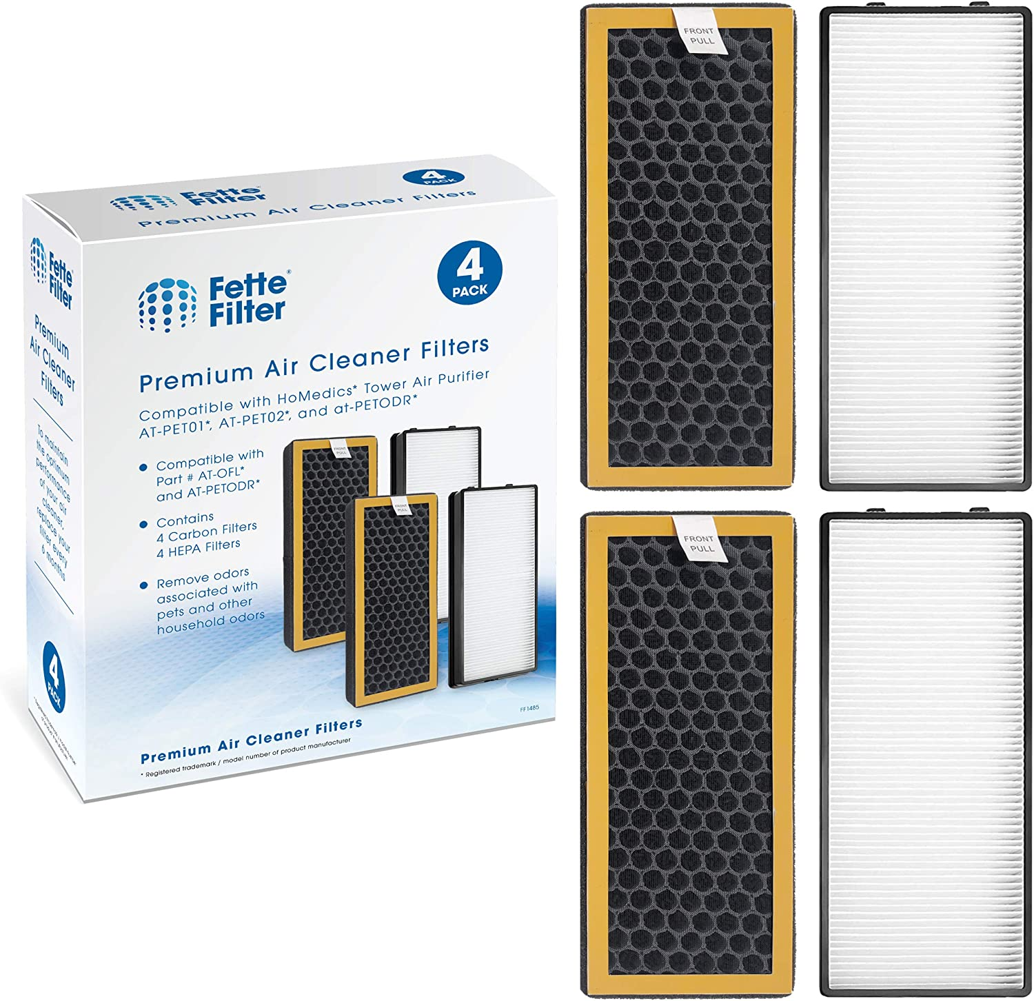 Fette Filter - 2 HEPA and 2 Activated Carbon Filters Compatible with HoMedics TotalClean PetPlus. Compare to Part # AT-PET01, AT-PET02, at-PETODR. Combo Pack