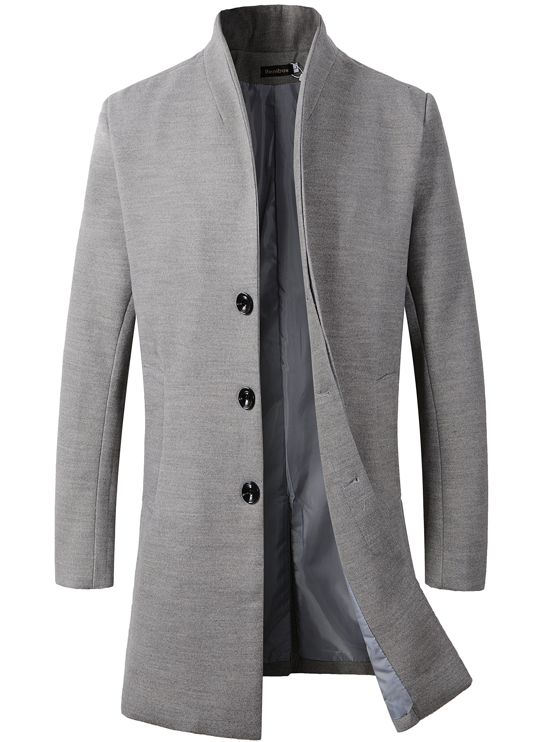 Beninos Men's Trench Coat Winter Long Jacket Button Closer Overcoat (168 Grey, S) by Beninos