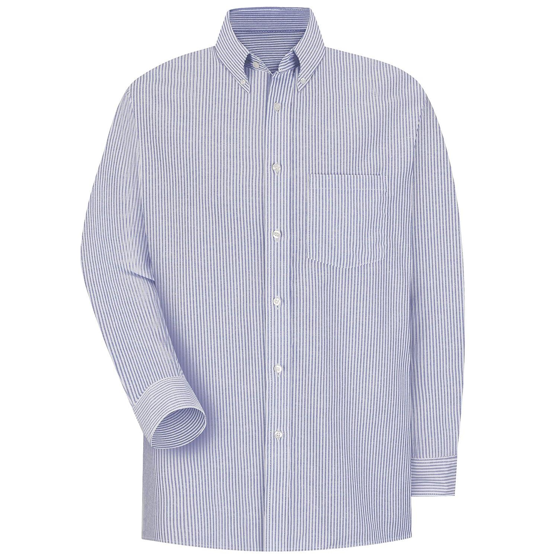 Red Kap Mens Long Sleeve Oxford Striped Executive Shirt
