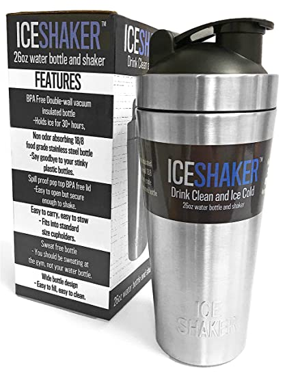 ICE SHAKER Stainless Steel Water Bottle Protein Mixing Cup Vacuum Insulated Double Wall Sweat Free w/ Pop Top Lid 26oz