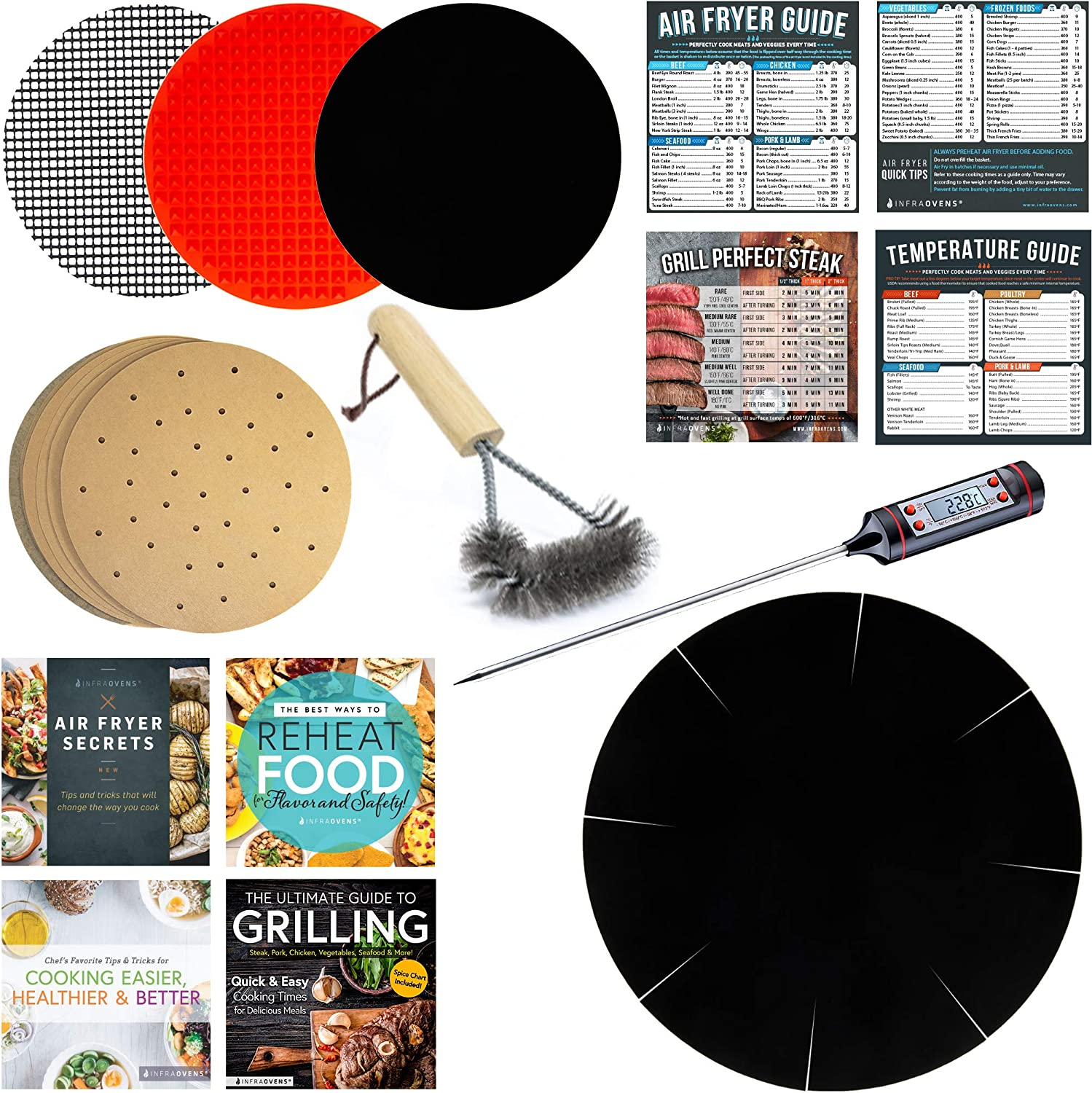 Small Air Fryer Parchment Rounds & Cookbook Accessory for Basket Compatible with GoWise, Black Decker, Posame & more – Airfryer Accessories – Silicone Mat, Thermometer & Grill Brush