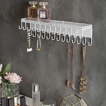 MyGift Organizador de joyas de metal con 26 ganchos para montaje en pared con estante expositor