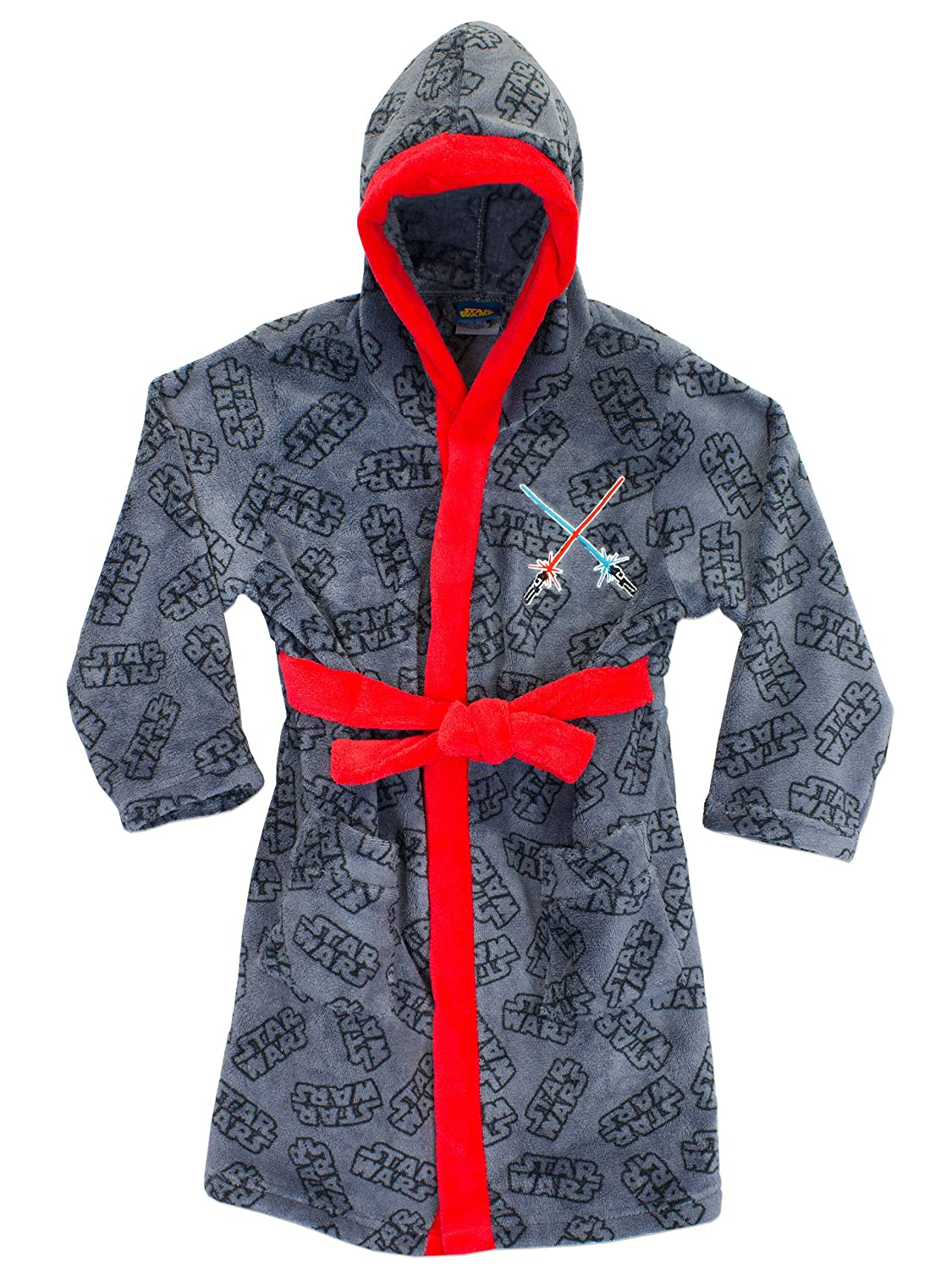 Hooded Star Wars bathrobe for boys with all over logo pattern and lightsabers