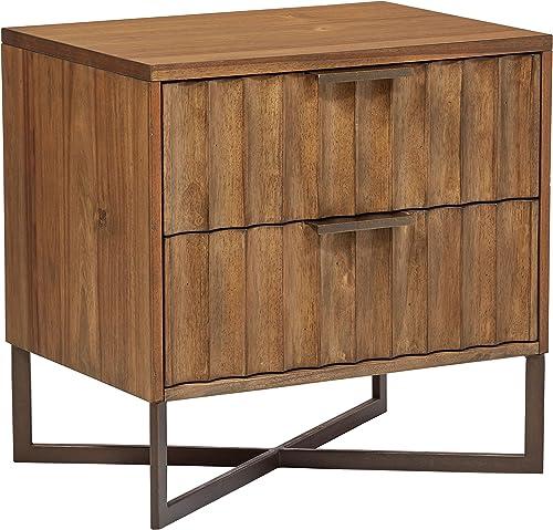 Stone Beam Mid-Century Modern Wood Nightstand, 24 , Brown, Metal Base