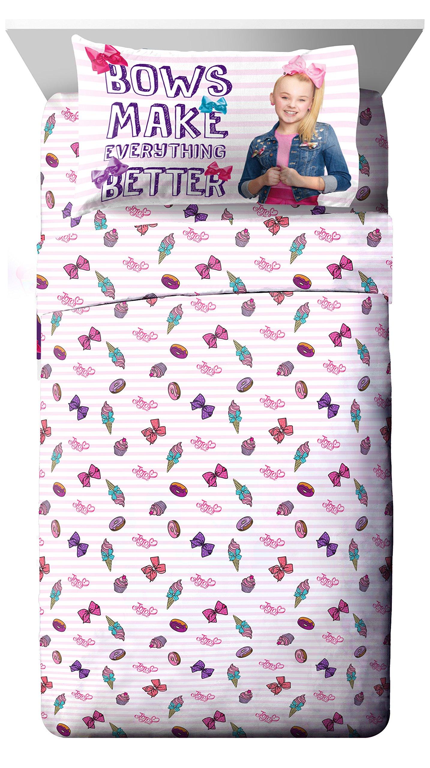Nickelodeon JoJo Siwa Sweet Life Pink/White 3 Piece Twin Sheet Set