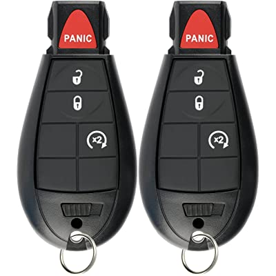 KeylessOption Keyless Entry Remote Car Key Fob Alarm for Jeep Cherokee, Dodge Ram GQ4-53T (Pack of 2): Automotive [5Bkhe1001329]