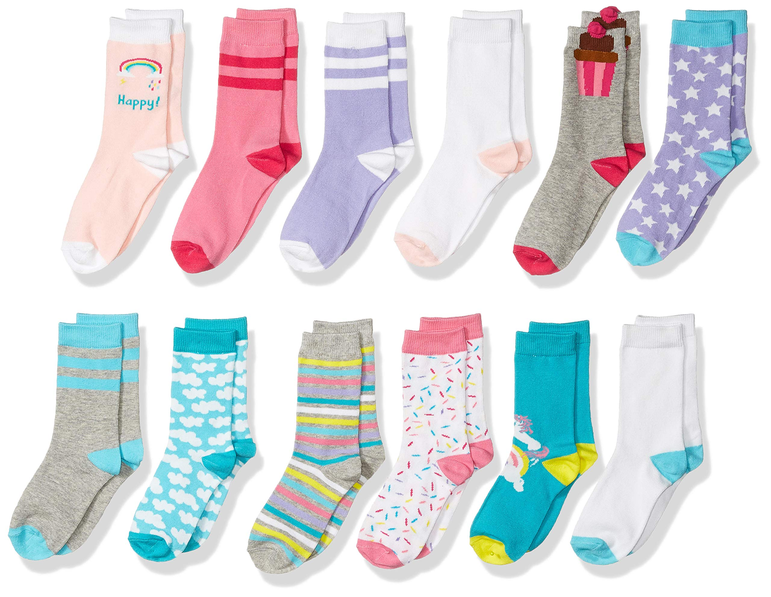 Spotted Zebra Kids' 12-Pack Crew Socks, Unicorn, Small (10-13) by Spotted Zebra (Image #1)